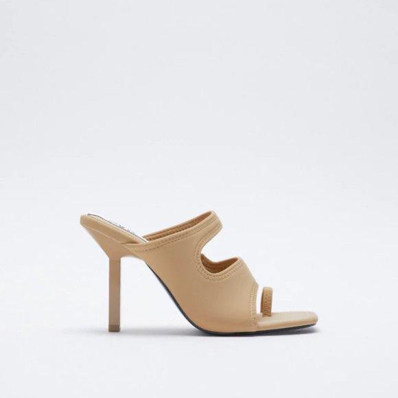 NWT Zara Size 10 Beige Heeled Neoprene Sandals